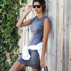 NEW Pam & Gela Black Knotted T-Shirt Midi Dress M